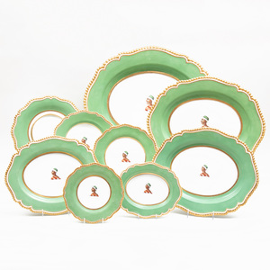 Flight, Barr & Barr Apple Green Ground Porcelain Armorial Part Service