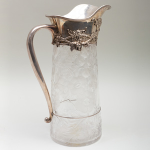 Large Tiffany & Co. Silver Mounted Engraved Glass Jug