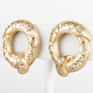 14k Gold and Diamond Pretzel Form Pin and Pair of Similar Earclips