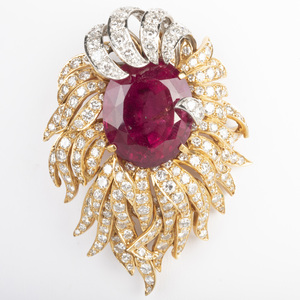 18k Yellow and White Gold, Rubelite and Diamond Brooch
