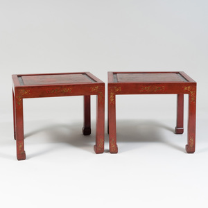 Pair of Chinese Export Red Lacquer and Parcel-Gilt Side Tables
