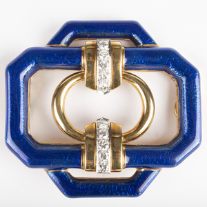 David Webb 18k Gold, Platinum, Diamond and Blue Enamel Pendant/Brooch