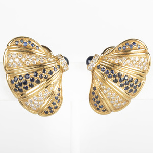 Pair of 18k Gold, Sapphire and Diamond Earclips