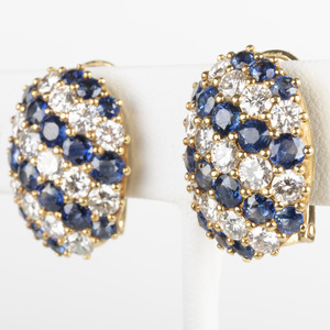 Pair of 18k Gold, Diamond and Sapphire Earclips