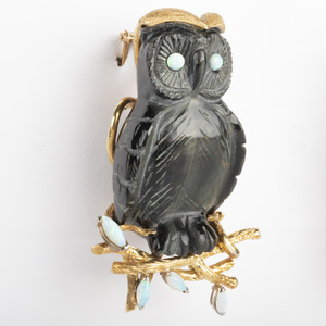 14k Gold, Opal and Black Stone Owl Pin