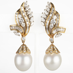 18k Gold, Diamond and South Sea Pearl Drop Earclips