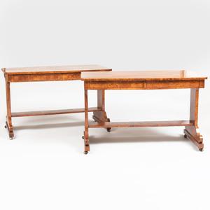 Pair of George IV Burl Elm Library Tables