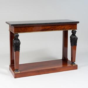 Empire Style Brass-Mounted Mahogany and Ebonized Console Table