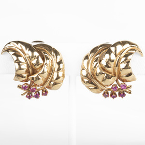 14k Gold and Ruby Leaf Form Earclips