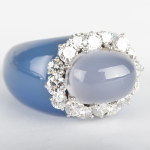Blue Chalcedony, Gold, Diamond and Cabochon Ring