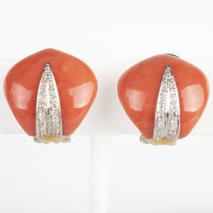 Pair of 18k Gold, Coral and Diamond Earclips