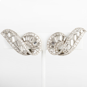 Vintage Cartier Platinum and Diamond Earclips, Paris