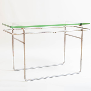 Tubular Steel and Glass Console Table