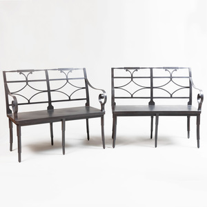 Pair of Contemporary Neoclassical Style Steel Benches