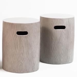 Pair of Faux Bois Pottery Garden Seats