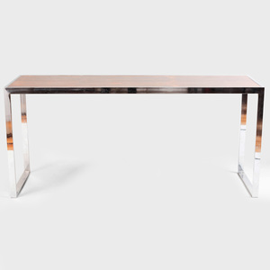 Contemporary Rosewood and Chrome Console