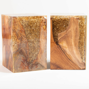 Pair of Resin and Petrified Wood Side Tables