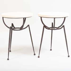 Pair of Contemporary Shagreen and Iron Side Tables