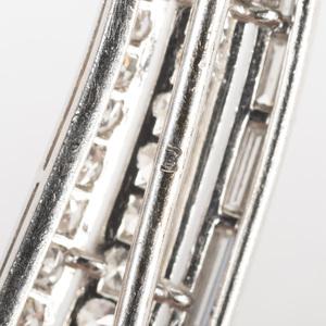 Pair of Vintage Platinum and Diamond Haricot Verte Pins