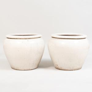 Pair of Cream Glazed Jardinières