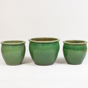 Group of Three Glazed Pottery Planters