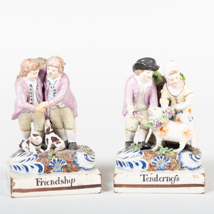 Pair of Staffordshire Pottery Figural Groups 'Friendship' and 'Tenderness'