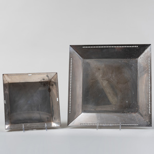 Two Secessionist Style Silver Plate Trays, Designed by Richard Meirer for Swid Powell