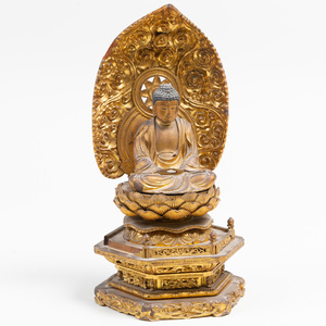 Chinese Gilt-Laquered Seated Buddha on Stand