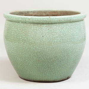 Green Crackle Glazed Pottery Planter