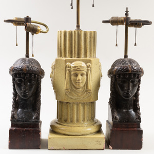 Pair of Painted Plaster Classical Bust Form Lamps and a Glazed Terracotta Columnar Form Lamp