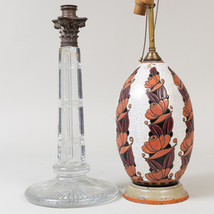 Longwy Style Earthenware Table Lamp and a Cut Glass Columnar Table Lamp