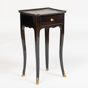 Louis XV Provincial Ormolu-Mounted Black Lacquer Side Table