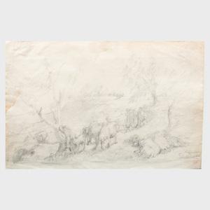 Teutward Schmitson (1830-1863): Landscape with a Herd of Cows