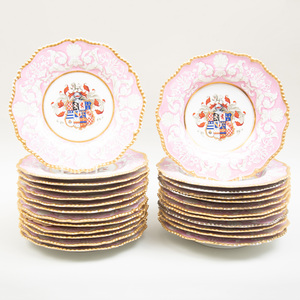 Flight, Barr & Barr Pink Ground Porcelain Armorial Part Service