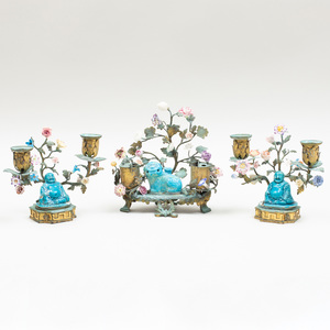 Gilt-Metal-Mounted Chinese and European Porcelain Encrire and a Pair of Similar Two-Light Candelabra