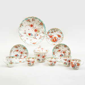 Group of Worcester Porcelain in the 'Jabberwock' and 'Quail' Patterns