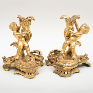 Pair of Louis XV Style Ormolu Candlesticks