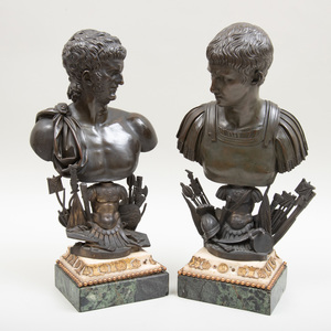 Pair of Bronze Busts of Roman Emperors