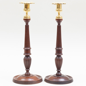 Pair of Tall English Mahogany and Brass Candlesticks