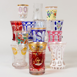 Group of Fifteen Bohemian Cut, Etched and Cased Glasses