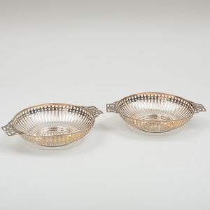Pair of Edward VII Silver Reticulated Baskets
