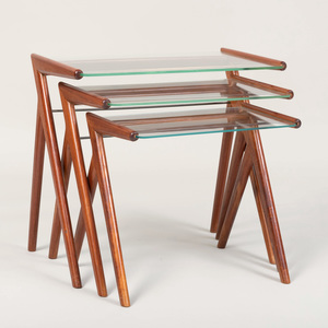 Set of Three Mid-Century Mahogany and Glass Nesting Tables