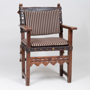 William and Mary Oak and Embossed Leather Armchair