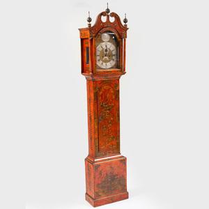 Queen Anne Scarlet Japanned Tall Case Clock