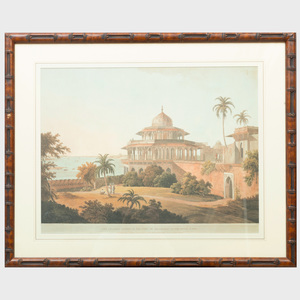After Thomas and William Daniell: Lucnow Taken From the Opposite Bank of the River Goomty: View of Mutura: The Chalees Satoon in the Fort of Allahabad on the River Jumna; and Mausoleum of Kausim Solamanee, at Chunar Gur