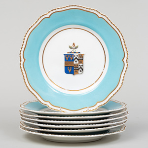 Set of Seven English Turquoise Ground Porcelain Armorial Plates