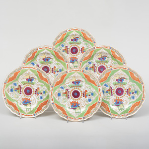 Set of Six English Porcelain Plates, in the 'Bengal Tiger' 'Dragons in Compartments' Pattern, Probably Coalport