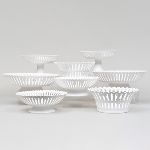 Group of Bourg-Joly Malicorne White Glazed Earthenware Serving Pieces