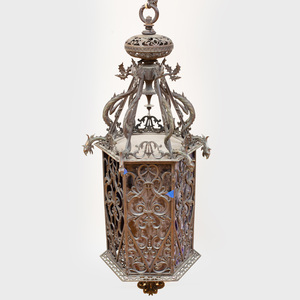 Large Victorian Bronze and Glass Hexagonal-Shaped Lantern, Possibly Italian