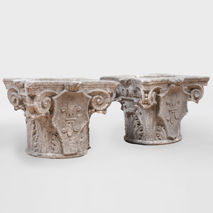 Pair of Continental Carved Marble Corinthian Capitals